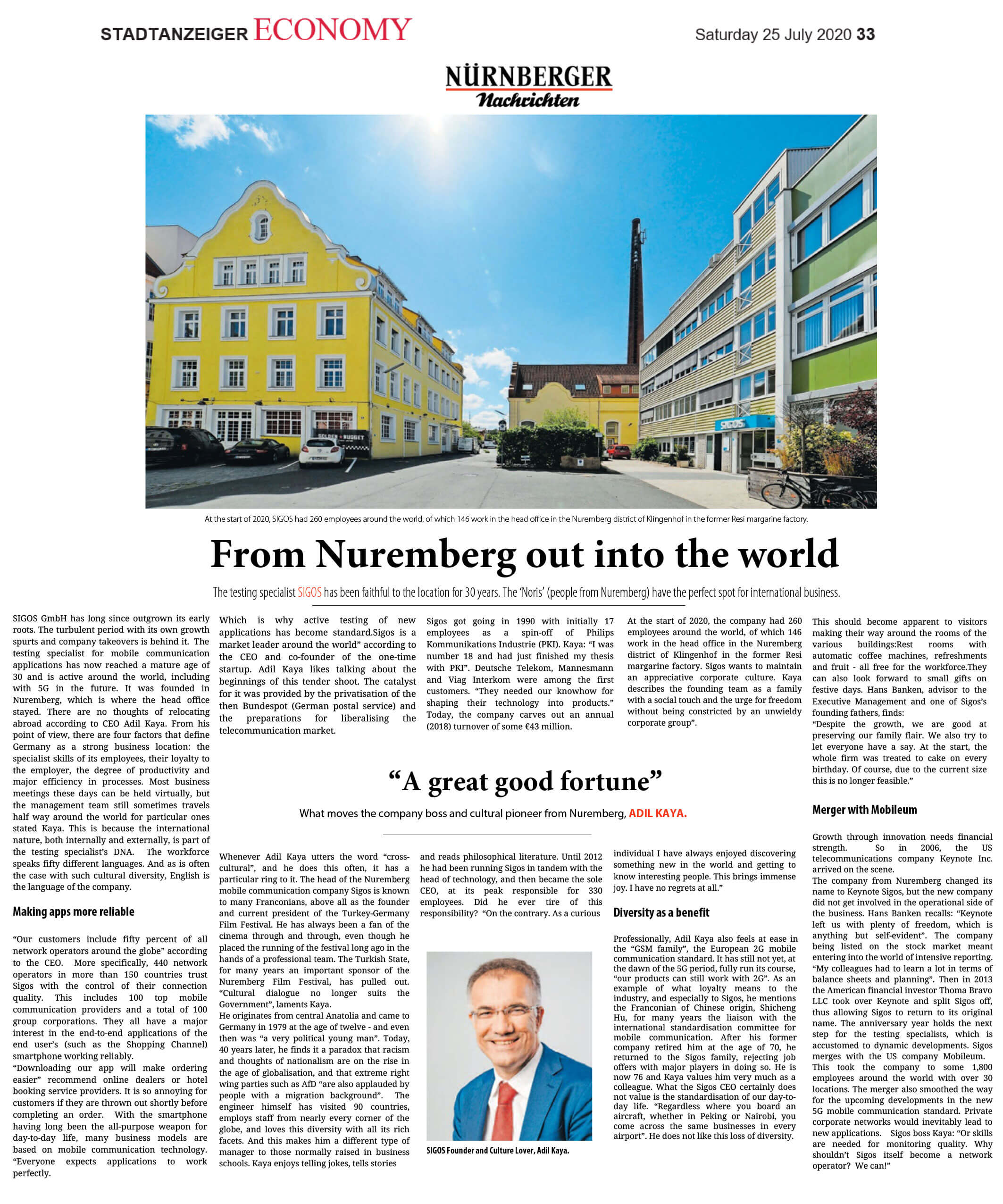 Newspaper Nuernberger Nachrichten SIGOS Adil Kaya From Nuremberg out into the world - Diversity as a benefıt - 25-07-2020